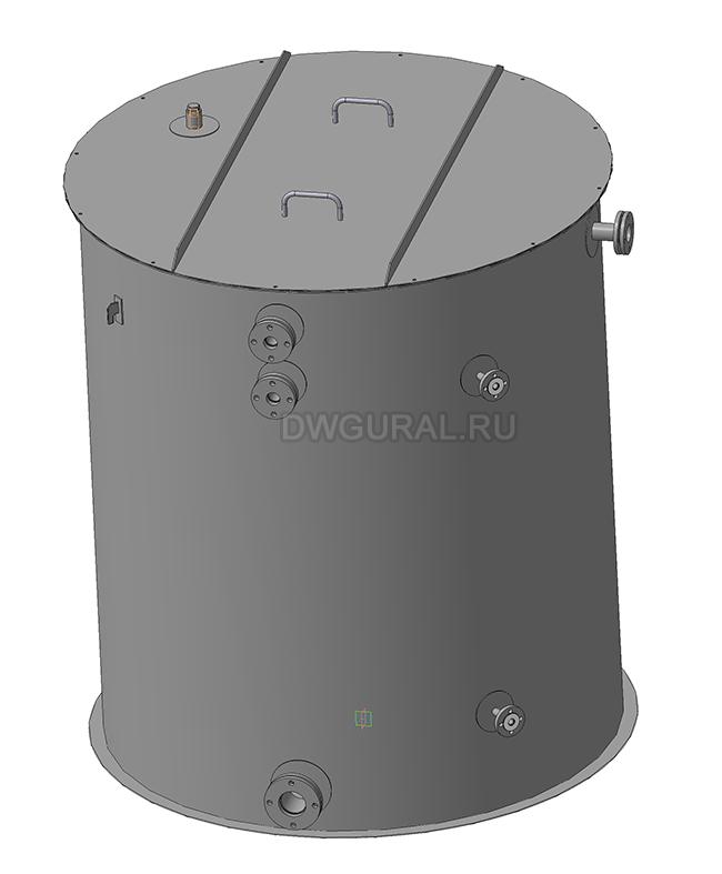 Чертежи резервуаров, баков, Емкостей.  3D модель Бак вертикальный РНВ-4