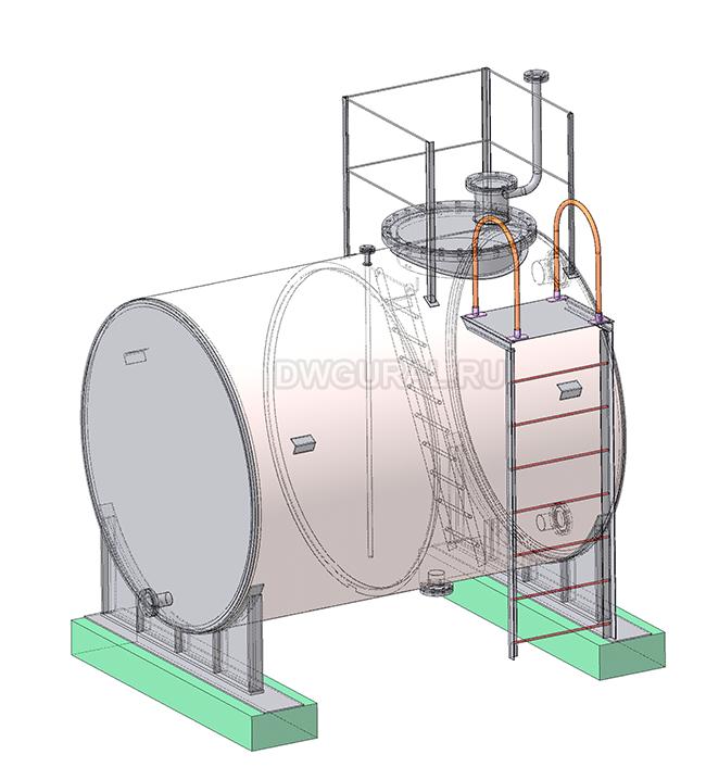 Чертежи резервуаров, баков, Емкостей.  3D модель Бак горизонтальный РНГ-11