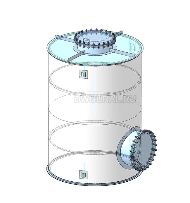 Чертежи резервуаров, баков, Емкостей.  3D модель Бак вертикальный РНВ-10 куб