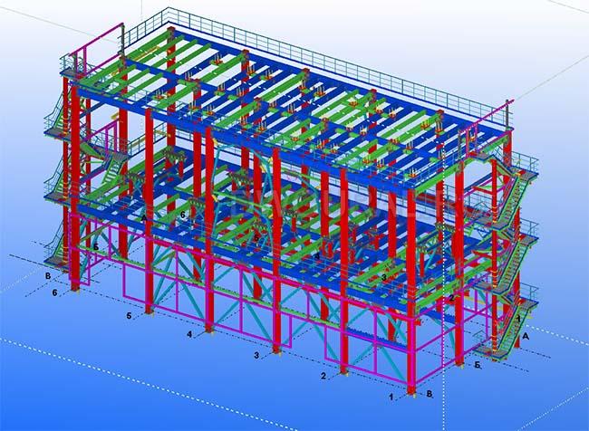 Разработка КМД. Промышленное здание 3 этажа 3D модель