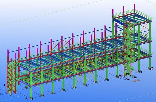 Разработка КМД. Промышленное здание 2 этажа 3D модель