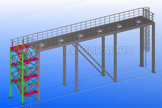 Разработка КМД. Эстакада для циклонов 3D модель