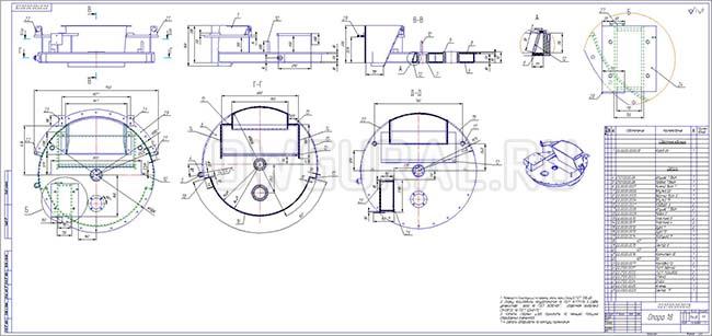 Чертежи нестандартного оборудования.  Сборочный чертеж  поворотного стола  выполнен с 3D модели.