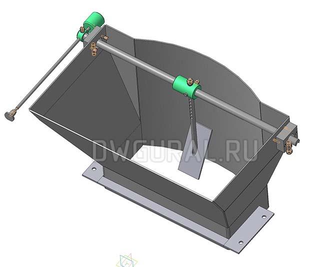 Чертежи нестандартного оборудования.  Короб загрузчика песка 3D модель изометрия.