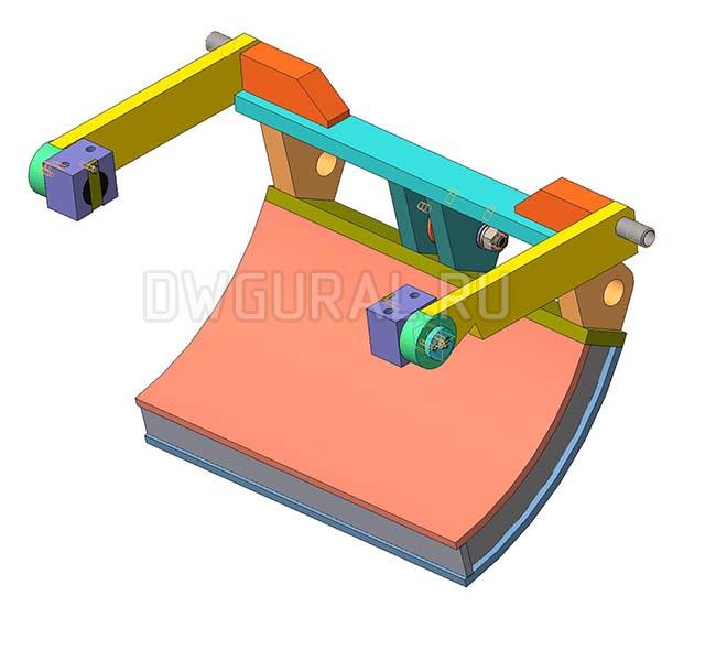 Чертежи нестандартного оборудования.  Поворотный экран 3D модель изометрия.