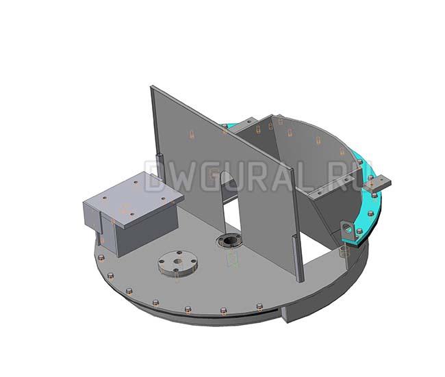 Чертежи нестандартного оборудования.  Поворотный стол, 3D модель изометрия.