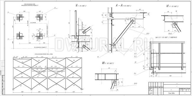 Узлы и монтажная схема этажерки. Сборочный чертеж.