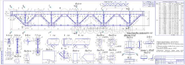 Рабочий чертеж стальной фермы 26м Ф-4