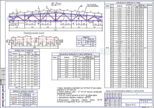 Рабочий чертеж стальной фермы 32м Ф-7