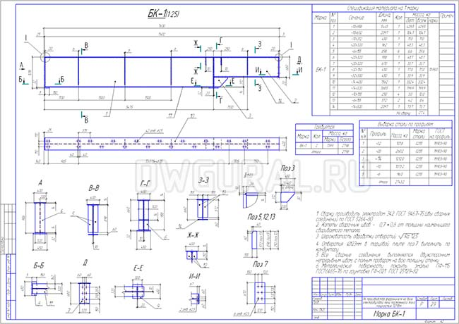 Рабочий чертеж стальной подкрановой балки  БК-1