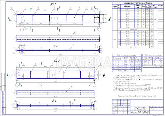 Рабочий чертеж стальной подкрановой балки  БП-1