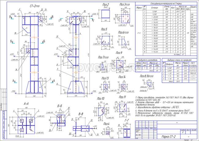 Рабочий чертеж стальной колонны СТ-2