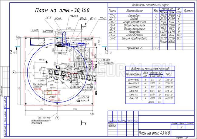 Разработка КМД. Схема трубопровода Ф700 мм подвод к технологическому оборудованию