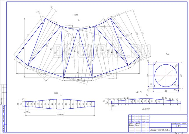 Разработка КМД.  Рабочий чертеж переходника с круга на квадрат трубопровода диаметром 700 мм. Развертка обечайки.