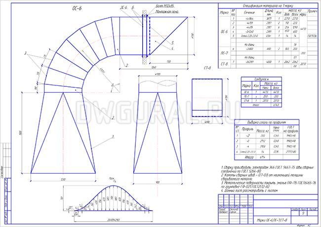 Разработка КМД.  Сборочный чертеж  переходника и отвода трубопровода диаметром 700 мм.
