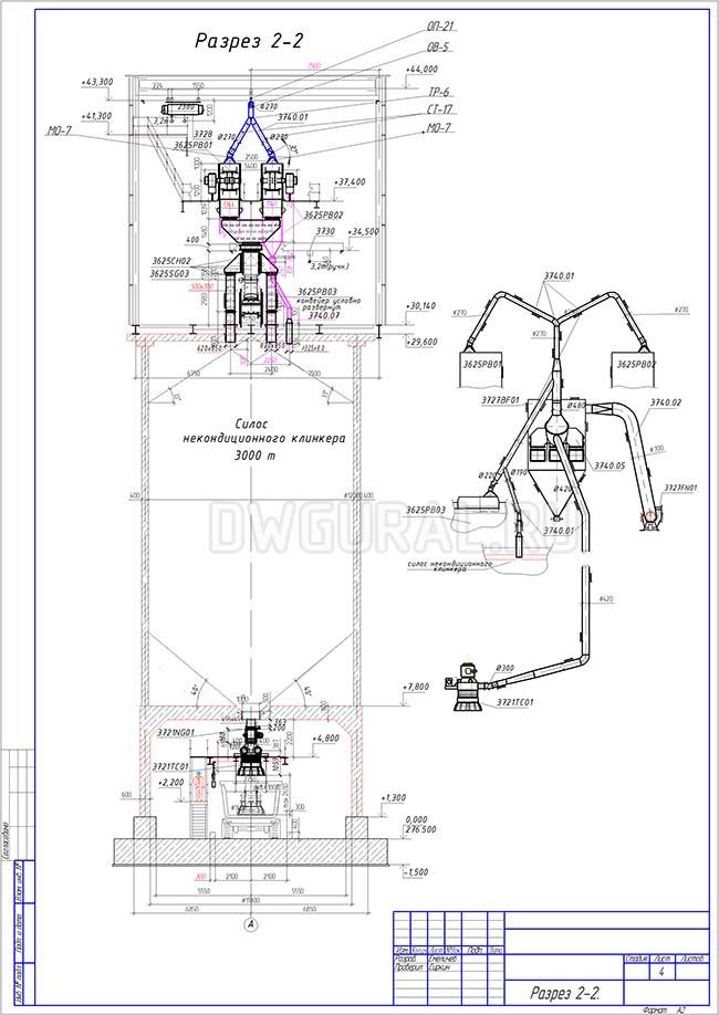 Разработка КМД.  План расположения оборудования и трубопровода диаметром 300 мм разез 2