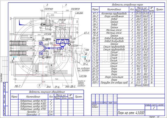 Разработка КМД. План расположения оборудования и трубопровода диаметром 300 мм на отметке 43 м