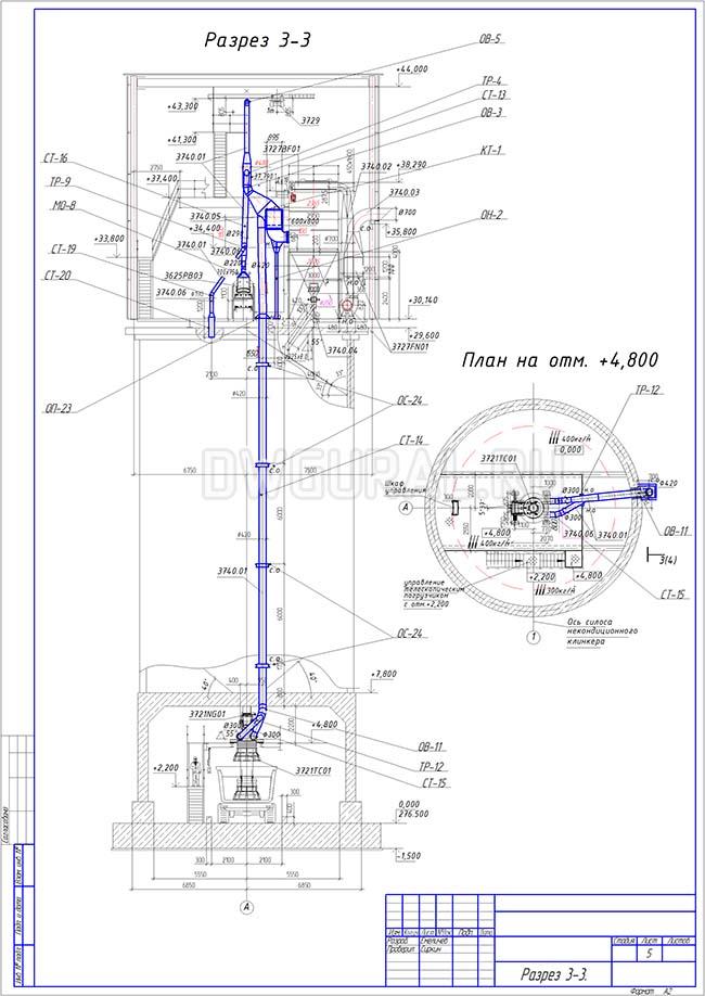 Разработка КМД.  План расположения оборудования и трубопровода диаметром 300 мм разез 3