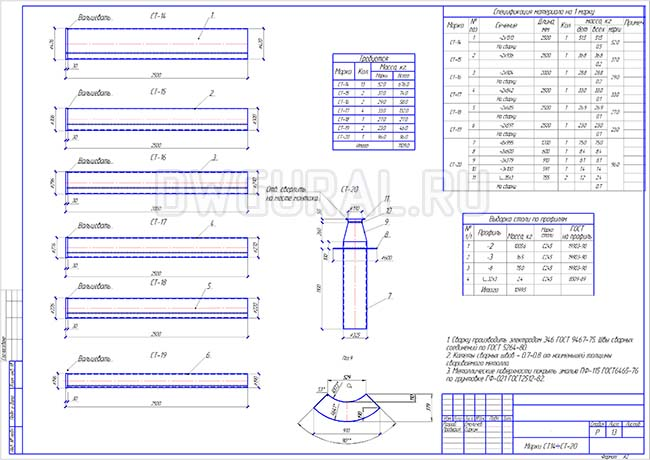 Разработка КМД.   Рабочие чертежи трубопровода диаметром 300 мм марки С14