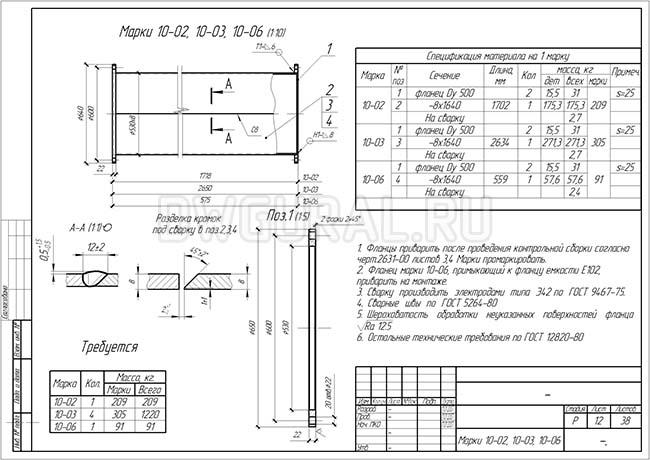 Разработка КМД.  Рабочие чертежи трубопровода диаметром 530 мм марки 10-02