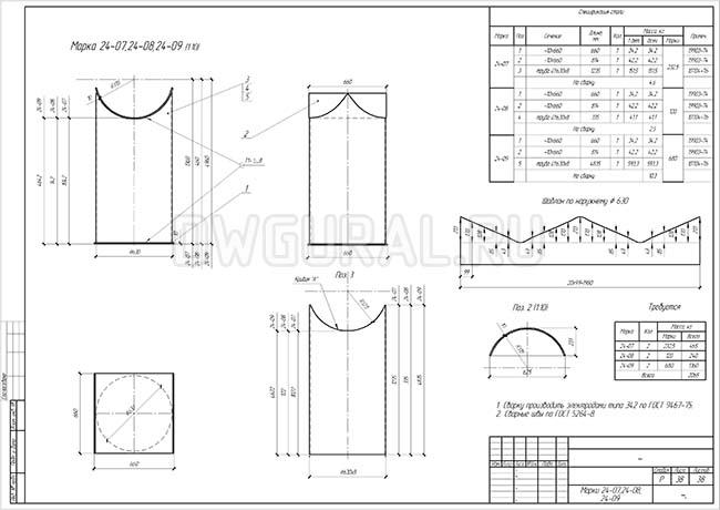 Разработка КМД.  Рабочие чертежи трубопровода диаметром 530 мм марки 17-07