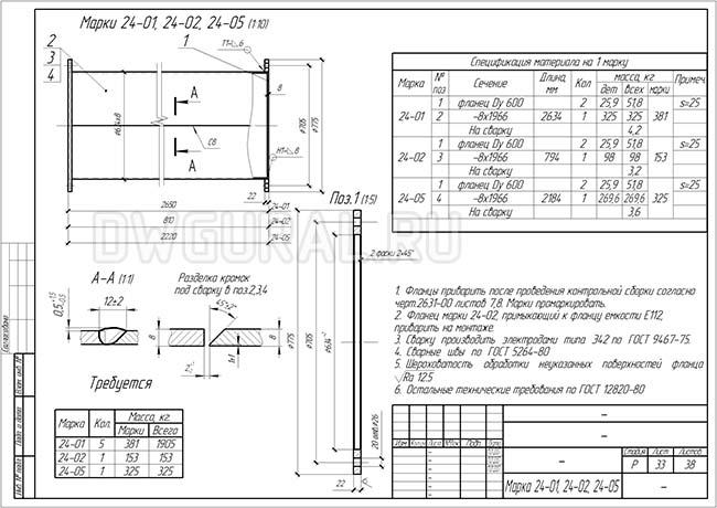 Разработка КМД.  Рабочие чертежи трубопровода диаметром 530 мм марки 24-05