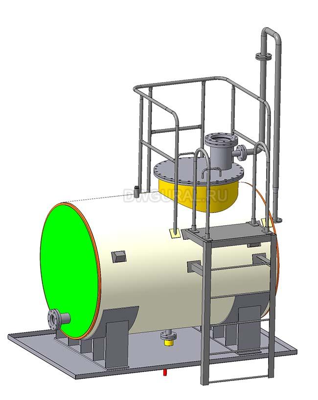 чертежи резервуаров, баков, Емкостей.   3D модель бак для хранения масла