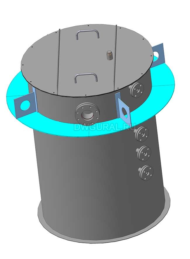 Чертежи резервуаров, баков, Емкостей.   3D модель Бак для воды V=1.2