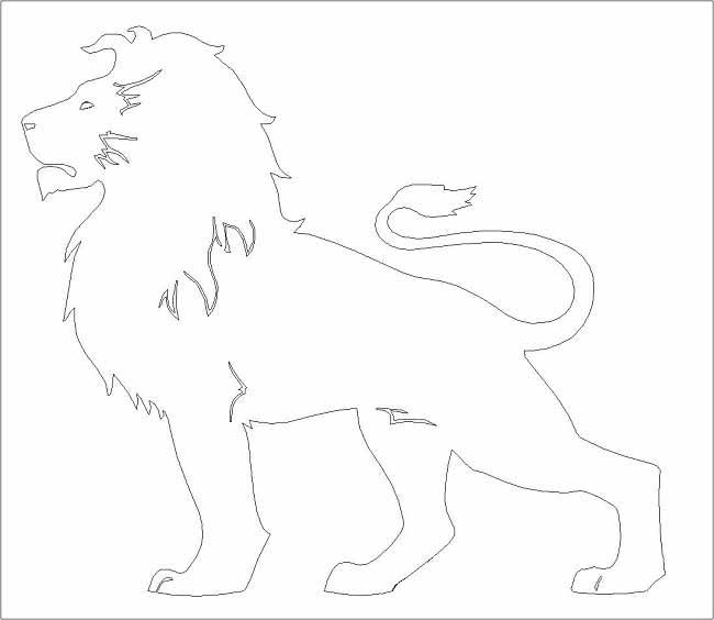 Dxf для ЧПУ  Чертеж векторный лев