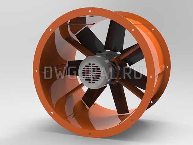 Осевой вентилятор Ф 750 мм визуализация 3D модели вид со стороны электродвигателя
