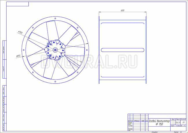 Габаритный чертеж осевого вентилятора с диаметром крыльчатки 750 мм