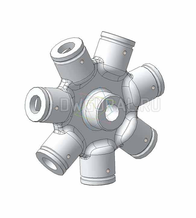 3D модель ступицы крыльчатки вентилятора выполнена из сплава алюминия.