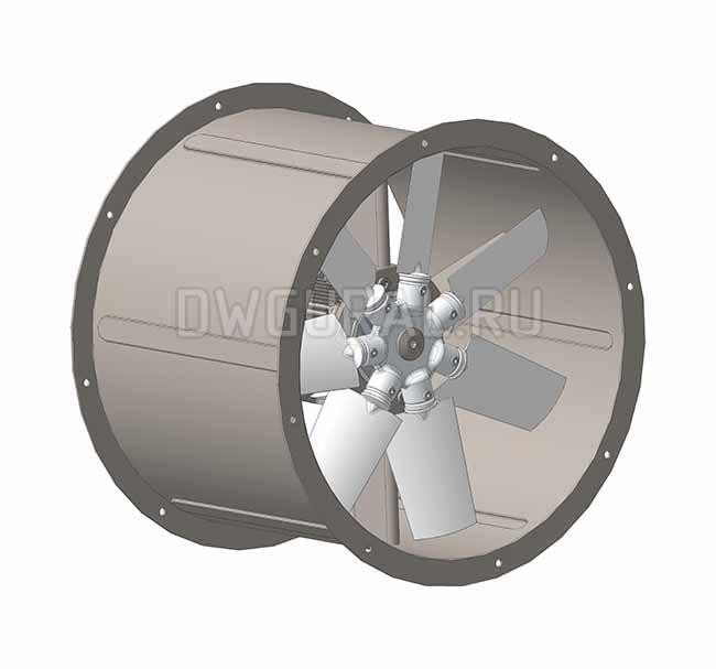 Диффузор осевого вентилятора выполнен из листового металла.