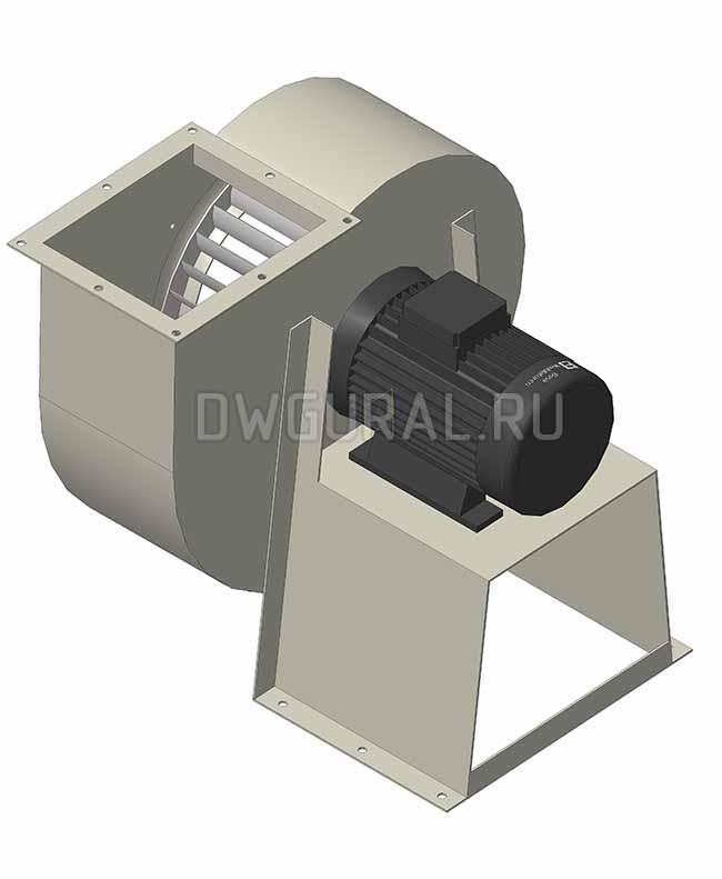 3D модель Вид вентилятора со стороны электродвигателя