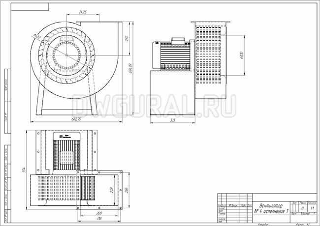 Габаритный чертеж вентилятора ВР №4 исп. 1