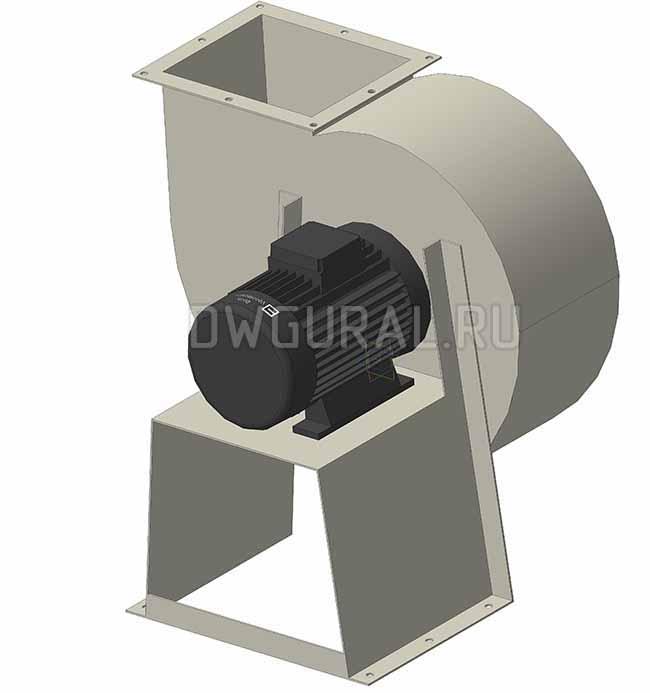 Рама для крепления электродвигателя привода вентилятора выполнена из листового металла.